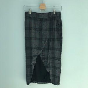 Mango Plaid Midi Skirt